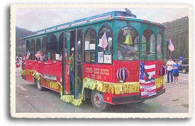 The red River Trolley is all decked out in patriotic gear for the annual fourth of July Parade