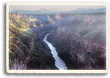 The Rio Grande Gorge is actually a geological rift which runs 800 feet deep through much of Northern New Mexico, including here in the Taos area. The best whitewater rapids are found on the Rio Grande, with Class II - V rapids available along sections of this river.